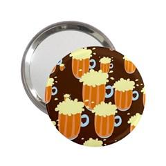 A Fun Cartoon Frothy Beer Tiling Pattern 2 25  Handbag Mirrors