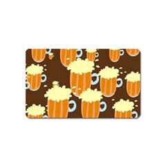 A Fun Cartoon Frothy Beer Tiling Pattern Magnet (name Card) by Nexatart