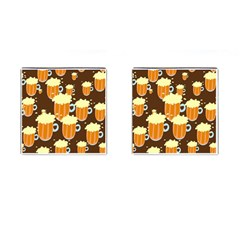 A Fun Cartoon Frothy Beer Tiling Pattern Cufflinks (square) by Nexatart