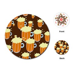 A Fun Cartoon Frothy Beer Tiling Pattern Playing Cards (round)