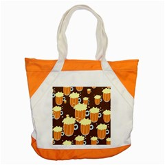 A Fun Cartoon Frothy Beer Tiling Pattern Accent Tote Bag by Nexatart