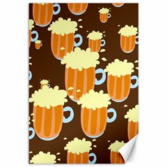 A Fun Cartoon Frothy Beer Tiling Pattern Canvas 12  X 18