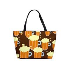 A Fun Cartoon Frothy Beer Tiling Pattern Shoulder Handbags by Nexatart