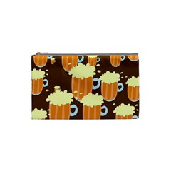 A Fun Cartoon Frothy Beer Tiling Pattern Cosmetic Bag (small)