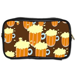 A Fun Cartoon Frothy Beer Tiling Pattern Toiletries Bags 2 Side