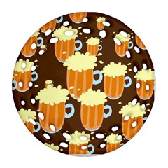 A Fun Cartoon Frothy Beer Tiling Pattern Round Filigree Ornament (two Sides) by Nexatart