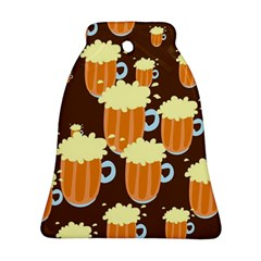 A Fun Cartoon Frothy Beer Tiling Pattern Bell Ornament (two Sides)