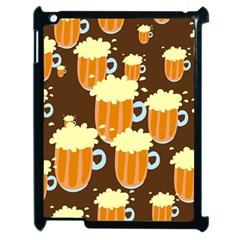 A Fun Cartoon Frothy Beer Tiling Pattern Apple Ipad 2 Case (black) by Nexatart
