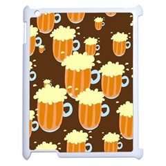 A Fun Cartoon Frothy Beer Tiling Pattern Apple Ipad 2 Case (white) by Nexatart