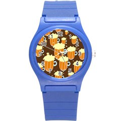 A Fun Cartoon Frothy Beer Tiling Pattern Round Plastic Sport Watch (s) by Nexatart