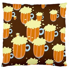 A Fun Cartoon Frothy Beer Tiling Pattern Large Cushion Case (one Side)