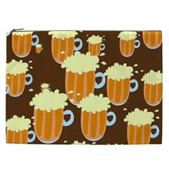 A Fun Cartoon Frothy Beer Tiling Pattern Cosmetic Bag (xxl)