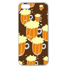 A Fun Cartoon Frothy Beer Tiling Pattern Apple Seamless Iphone 5 Case (clear)