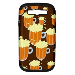 A Fun Cartoon Frothy Beer Tiling Pattern Samsung Galaxy S Iii Hardshell Case (pc+silicone) by Nexatart