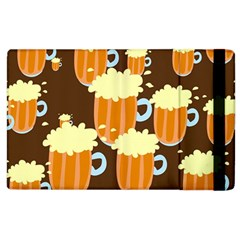 A Fun Cartoon Frothy Beer Tiling Pattern Apple Ipad 2 Flip Case by Nexatart