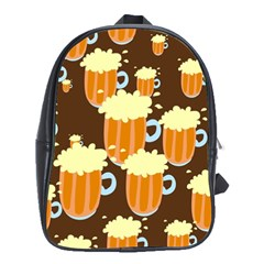 A Fun Cartoon Frothy Beer Tiling Pattern School Bags (xl)