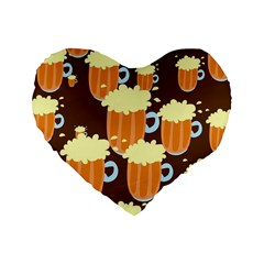 A Fun Cartoon Frothy Beer Tiling Pattern Standard 16  Premium Heart Shape Cushions