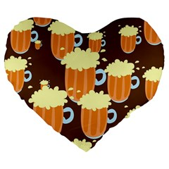 A Fun Cartoon Frothy Beer Tiling Pattern Large 19  Premium Heart Shape Cushions by Nexatart