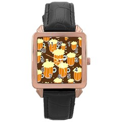 A Fun Cartoon Frothy Beer Tiling Pattern Rose Gold Leather Watch  by Nexatart