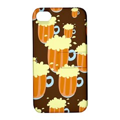 A Fun Cartoon Frothy Beer Tiling Pattern Apple Iphone 4/4s Hardshell Case With Stand by Nexatart