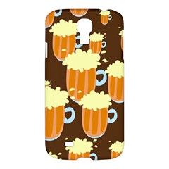 A Fun Cartoon Frothy Beer Tiling Pattern Samsung Galaxy S4 I9500/i9505 Hardshell Case by Nexatart