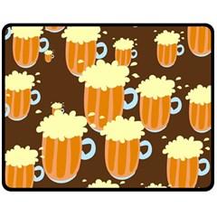 A Fun Cartoon Frothy Beer Tiling Pattern Double Sided Fleece Blanket (medium)