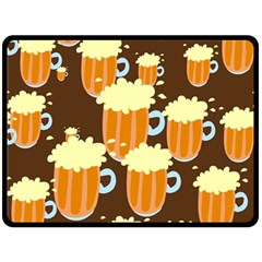 A Fun Cartoon Frothy Beer Tiling Pattern Double Sided Fleece Blanket (large)  by Nexatart