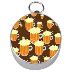 A Fun Cartoon Frothy Beer Tiling Pattern Silver Compasses