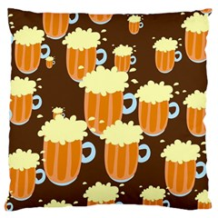 A Fun Cartoon Frothy Beer Tiling Pattern Large Flano Cushion Case (two Sides) by Nexatart