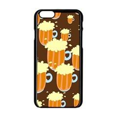 A Fun Cartoon Frothy Beer Tiling Pattern Apple Iphone 6/6s Black Enamel Case