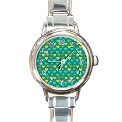 Hearts Seamless Pattern Background Round Italian Charm Watch
