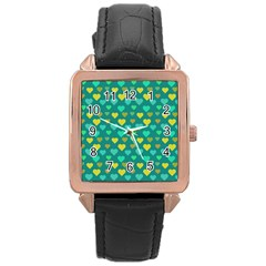 Hearts Seamless Pattern Background Rose Gold Leather Watch