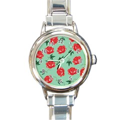 Red Floral Roses Pattern Wallpaper Background Seamless Illustration Round Italian Charm Watch