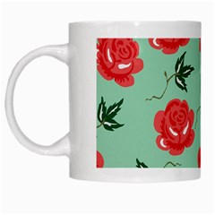 Red Floral Roses Pattern Wallpaper Background Seamless Illustration White Mugs by Nexatart