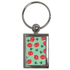 Red Floral Roses Pattern Wallpaper Background Seamless Illustration Key Chains (rectangle)  by Nexatart