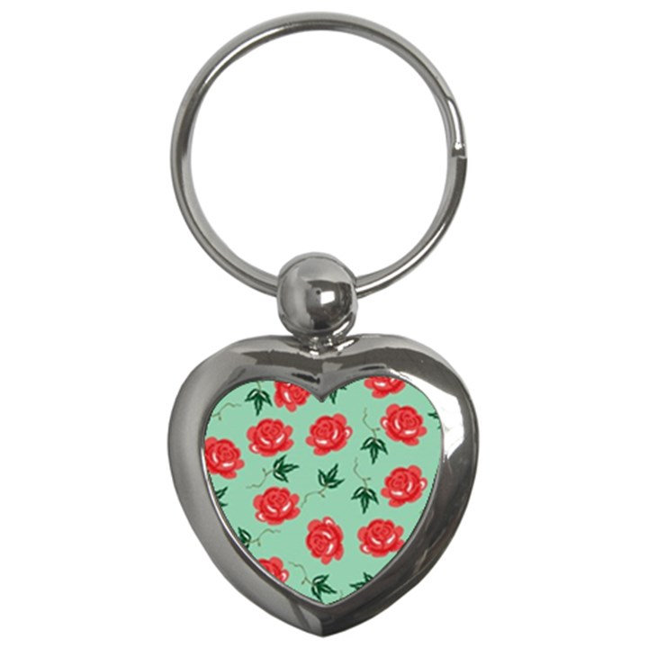 Red Floral Roses Pattern Wallpaper Background Seamless Illustration Key Chains (Heart)