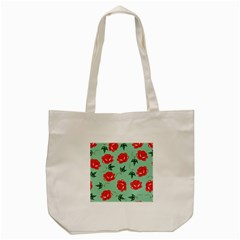 Red Floral Roses Pattern Wallpaper Background Seamless Illustration Tote Bag (cream)