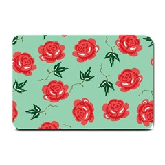Red Floral Roses Pattern Wallpaper Background Seamless Illustration Small Doormat