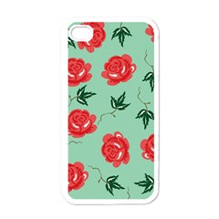 Red Floral Roses Pattern Wallpaper Background Seamless Illustration Apple Iphone 4 Case (white) by Nexatart