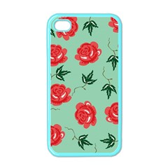 Red Floral Roses Pattern Wallpaper Background Seamless Illustration Apple Iphone 4 Case (color)