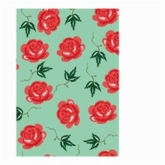Red Floral Roses Pattern Wallpaper Background Seamless Illustration Small Garden Flag (two Sides) by Nexatart