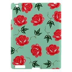 Red Floral Roses Pattern Wallpaper Background Seamless Illustration Apple Ipad 3/4 Hardshell Case