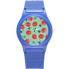Red Floral Roses Pattern Wallpaper Background Seamless Illustration Round Plastic Sport Watch (s) by Nexatart