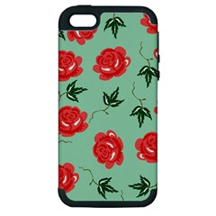 Red Floral Roses Pattern Wallpaper Background Seamless Illustration Apple Iphone 5 Hardshell Case (pc+silicone)