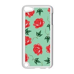 Red Floral Roses Pattern Wallpaper Background Seamless Illustration Apple Ipod Touch 5 Case (white) by Nexatart
