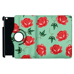 Red Floral Roses Pattern Wallpaper Background Seamless Illustration Apple Ipad 2 Flip 360 Case