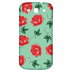 Red Floral Roses Pattern Wallpaper Background Seamless Illustration Samsung Galaxy S3 S Iii Classic Hardshell Back Case by Nexatart