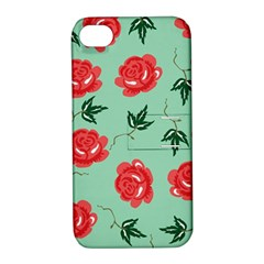 Red Floral Roses Pattern Wallpaper Background Seamless Illustration Apple Iphone 4/4s Hardshell Case With Stand by Nexatart