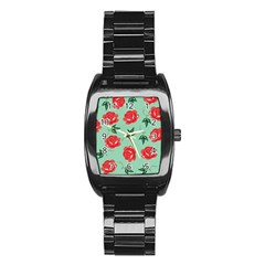 Red Floral Roses Pattern Wallpaper Background Seamless Illustration Stainless Steel Barrel Watch