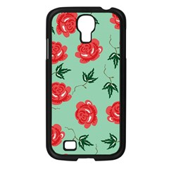 Red Floral Roses Pattern Wallpaper Background Seamless Illustration Samsung Galaxy S4 I9500/ I9505 Case (black) by Nexatart